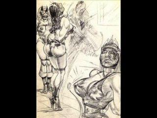 النساء القوية تهيمن المصارعة المختلطة كاريكاتير المصارعة مثليه الفن