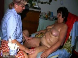 oldnanny الجدة الدهون، كس مشعر وفتاة مع كبير الثدي