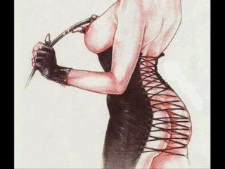 ملابس صنم femdom عبودية بدسم كاريكاتير ارتداء الفن قضيب جلدي