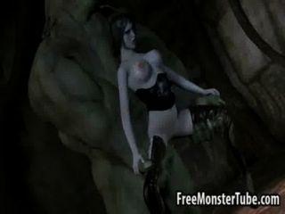 مفلس فاتنة امرأة سمراء 3D الحصول مارس الجنس من قبل monsterverted عالية 2