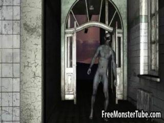 أحمر 3D تمتص الديك ويحصل مارس الجنس من قبل zombiembie عالية 1