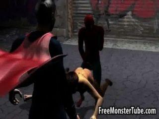 ماكر 3D فاتنة الحصول مارس الجنس من الصعب من قبل الرجل العنكبوت