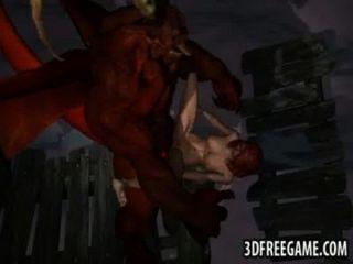 مثير أحمر الشعر 3D تحصل مارس الجنس من الصعب من قبل شيطان مجنح