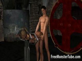 تحصل مارس الجنس ضبط النفس فاتنة شقراء 3D من قبل مصاص دماء