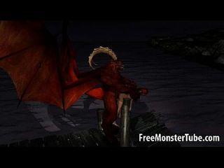 3d الكرتون فتاة يحصل مارس الجنس في الهواء الطلق بواسطة ل وينجد شيطان