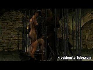 3d فتاة تمتص الديك و يحصل مارس الجنس من قبل الذئب