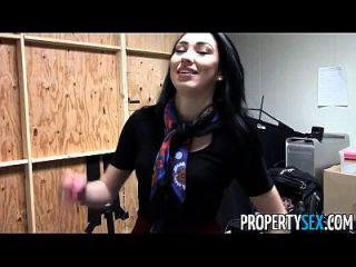 بروبيرتيكس جميلة سمراء وكيل العقارات مكتب المنزل الجنس الفيديو