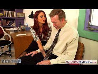 أحمر الشعر فتاة مونيك أليكساندر اللعنة في مكتب