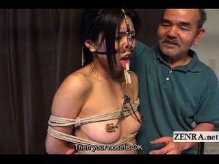 المتطرفة اليابانية بدسم مع الأنف السنانير والمشابك مترجمة