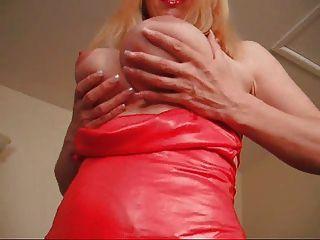 F60 كبير الثدي الحمراء فستان سيدة