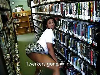 (LMFAO !!) الأبنوس الجبهة twerking الغنائم في ameman مكتبة
