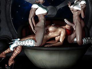 مثير 3D الفن 2 خنثى يمارس الجنس مع فتاة (حار جدا)