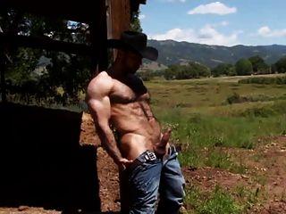 رعاة البقر وحده على مزرعة