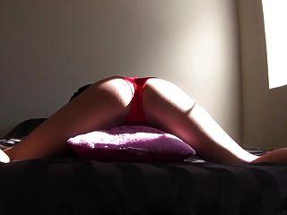 مثير وسادة امرأة سمراء فتاة حدب في سراويل حمراء