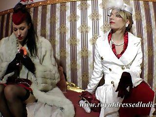 أنيقة السيدات مثليه الكلاسيكية الثعلب ثوب طويل الفراء والحرير