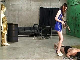 اليابانية فيمدوم ريسا الجلد ثلاثة العبيد
