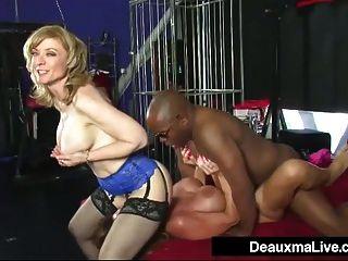 ميلف ناضجة deauxma و نينا هارتلي تبادل سوداء كبيرة ديك!