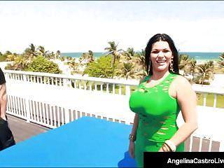 انجيلينا كاسترو الكوبي متعرج قصفت كس على سقف الفندق!
