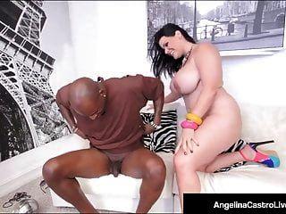 bbw الكوبي أنجلينا كاسترو يجلس على الديك الأسود الكبير للبيع!